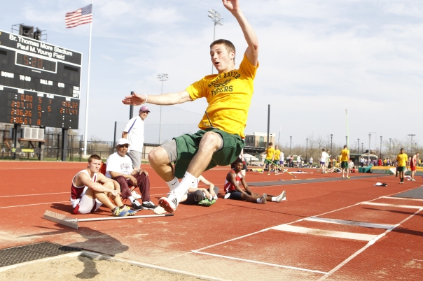 Davey Sermersheim shows off his jumping ability in a track meet last year | Photo by Tim Porco