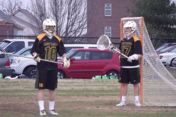 Austin Sweeney (16) and Max Cartor (17) defend the Tiger goal   Photo by Chris Raymond