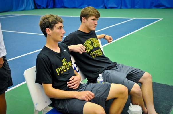 Brandon Lancaster sits along side 2012 State Champion Sean Donohue at last year's state championships | Photo by Tim Webb