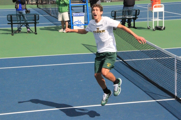 Brandon Lancaster celebrating his Singles State Championship Victory | WSTX Sports File Photo