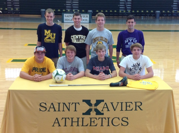 Front row (left to right): Stephen Gray, Joe Workman, Ben Metzger, Wes Luvisi. Back row (left to right): Daniel Santos, Paxton Duff, Sam Lukens, and Max Mudd   SaintX.com