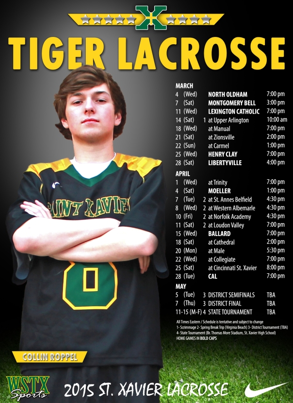 2015 Tiger Lacrosse Schedule Poster