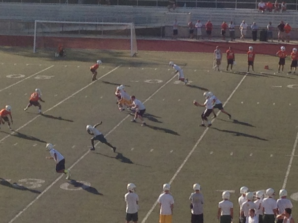 The Tiger offense begins a play against the DeSales Colts | Photo by Evan Heichelbech