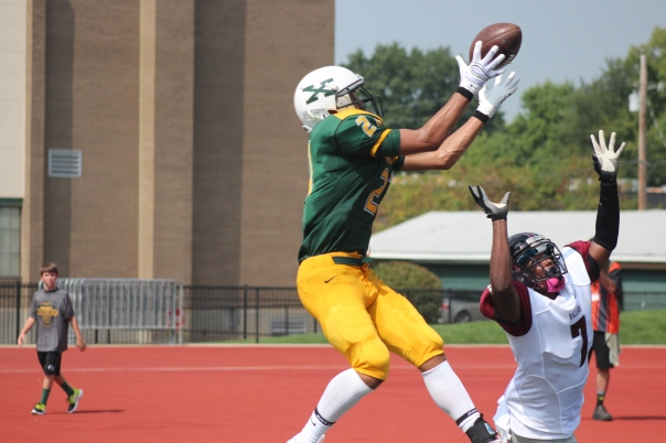 Jaylon Hibbs goes up for a jump ball in the endzone | Photo by Jacob Hayslip