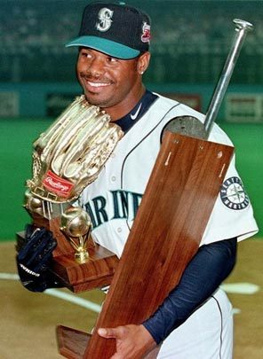 Ken Griffey Jr. with some of his hardware. | Photo via