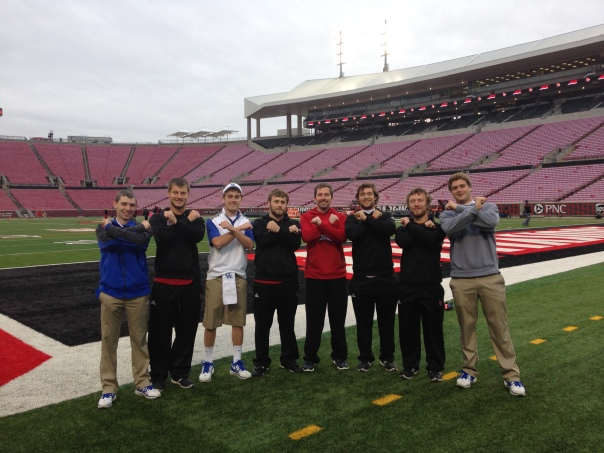 From left to right: Tyler Buttleman (UK), Eric Anderson (UL), Clay Bollinger (UK), Adam Williams (UL), ____ (UL), Evan Shaheen (UL), Matt Anderson (UL) and Chase Heuke (UK) | Photo courtesy Evan Shaheen