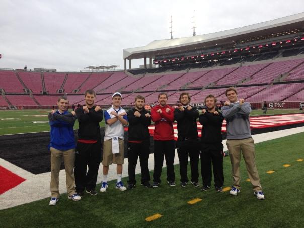 From left to right: Tyler Buttleman (UK), Eric Anderson (UL), Clay Bollinger (UK), Adam Williams (UL), ____ (UL), Evan Shaheen (UL), Matt Anderson (UL) and Chase Heuke (UK) | Photo courtesy Evan Shaheen