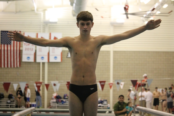 Junior Michael Miller was victorious in the diving portion of the meet. | Photo by Jacob Hayslip