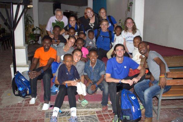 Kaelon Fox (front right) and his fellow Wildcats arrive in Ethiopia. | UKAthletics.com